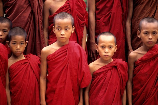 young buddhist monks, myanmar, burma, asia : Stock Photo
