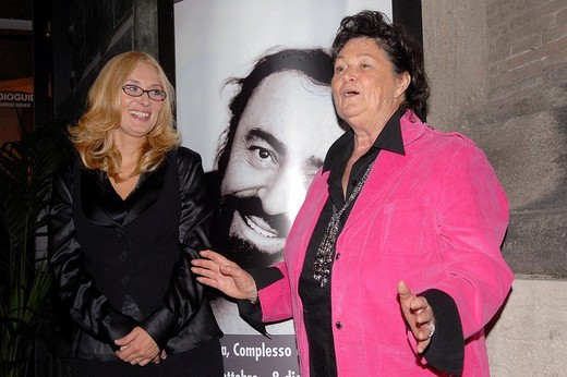 nicoletta mantovani and gabriella pavarotti,roma 16_10_2008 ,luciano pavarotti exhibition,photo carlo stella/markanews : Stock Photo