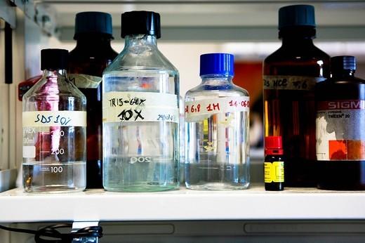 bottles solutions, istituto di ricerche farmacologiche mario negri, milan, italy : Stock Photo