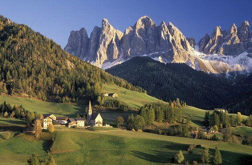 Stock Photo: 3153-630019 santa maddalena and le odle mountain, funes valley, italy