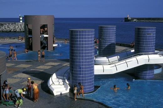 Stock Photo: 3153-630073 ponta delgada: swimmingpools, sao miguel, portugal