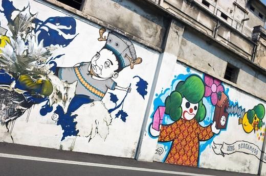 murales and graffiti, bergamo, italy : Stock Photo