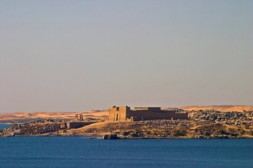 Stock Photo: 3153-630494 africa, egypt, assuan area, lake nasser, an ancient egyptian temple
