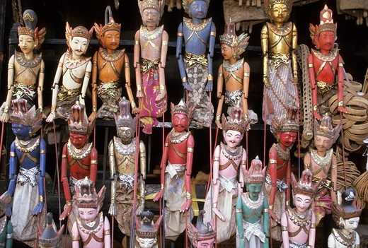 Stock Photo: 3153-631303 marionettes of the shadow play, bali, indonesia
