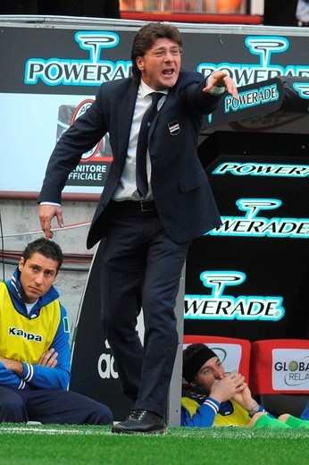 walter mazzarri, sampdoria trainer,milan 19_10_2008,italian soccer championship 2008/2009, serie a ,photo paolo bona/markanews : Stock Photo