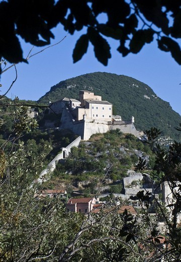 st giovanni castle, finalborgo, liguria, italy : Stock Photo