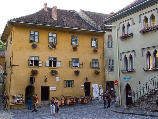 europe, romania, transylvania, sighisoara, house of drakula : Stock Photo