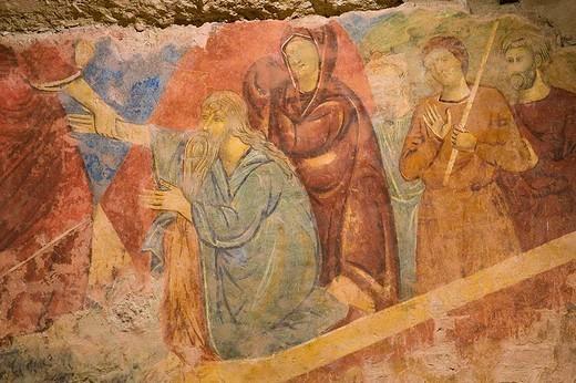 europe, italy, tuscany, siena, cathedral, crypt, frescos : Stock Photo