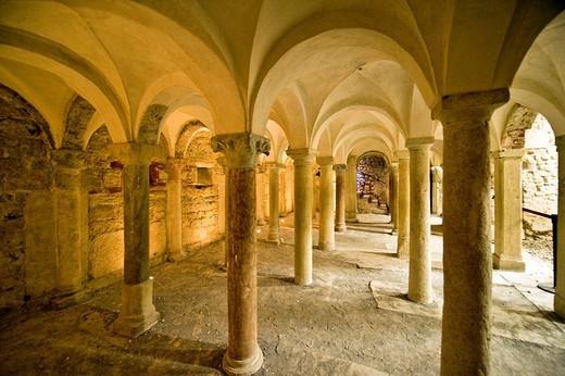 crypt, church of san salvatore, brescia, lombardia, italy : Stock Photo