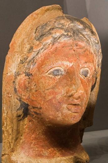 Stock Photo: 3153-635120 europe, italy, tuscany, siena, santa maria della scala, archaeological museum, etruscan museum, chigi zondadari collection, votive head