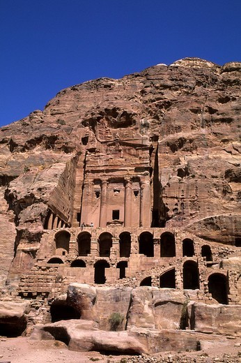 royal tombs, carved into sandstone cliffs by ancient nabateans, jordan, asia : Stock Photo