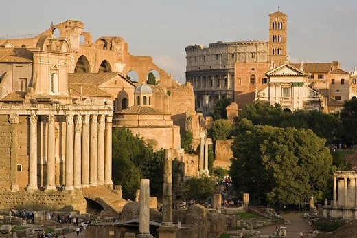 europe, italy, lazio, rome, roman forum and colosseum : Stock Photo