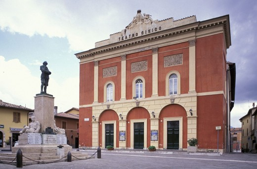 Stock Photo: 3153-639912 piazza vittorio veneto and social theatre, norcia, italy