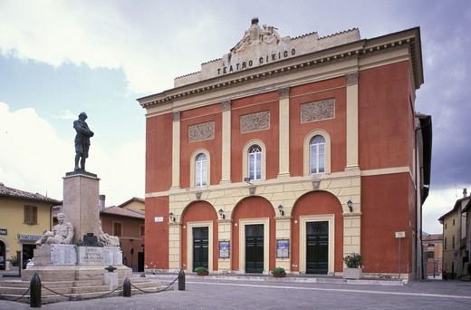 piazza vittorio veneto and social theatre, norcia, italy : Stock Photo