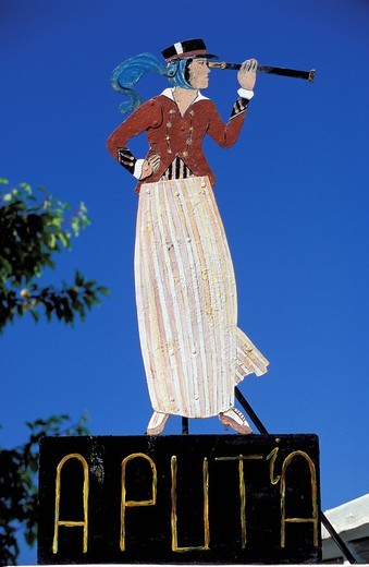 Stock Photo: 3153-641402 Shop sign in the village of Malfa, Island of Salina. Aeolian Islands, ITALY