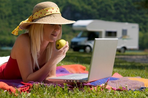 Stock Photo: 3153-643176 young woman with laptop in the open