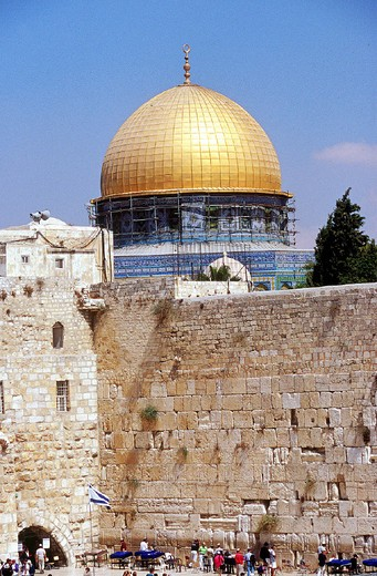 Stock Photo: 3153-643520 israel, jerusalem, old city, people praying by wailing wall, mosque,
