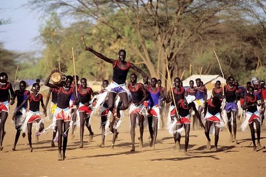 Stock Photo: 3153-644543 africa, kenya, kakuma refugees camp, sudanese, tribal dance