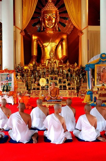 Stock Photo: 3153-644727 monks at the wat phra singh temple, chiang mai, thailand, southeast asia