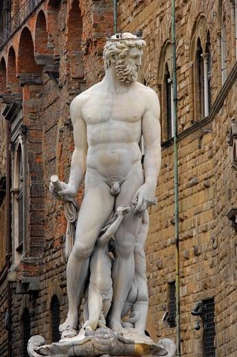 signoria square, fountain of neptune, florence, tuscany, italy : Stock Photo