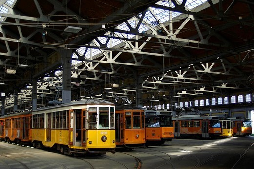 tram depot, milan, italy : Stock Photo