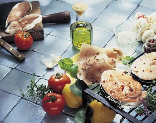 salmon and swordfish slices : Stock Photo