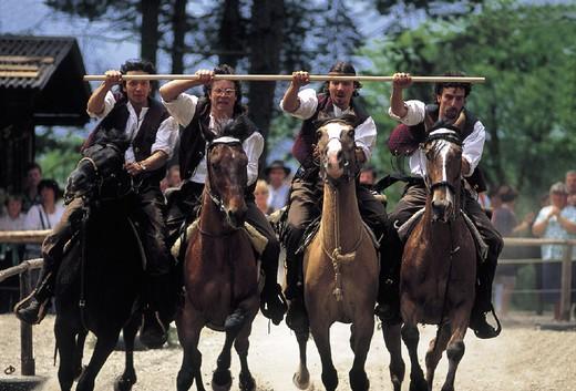italy, trentino alto adige, alpe di siusi, oswald von wolkenstein riding : Stock Photo