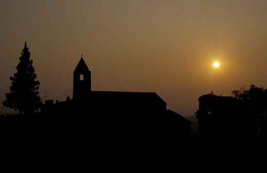 sunset on monastery, provaglio d´iseo, italy : Stock Photo