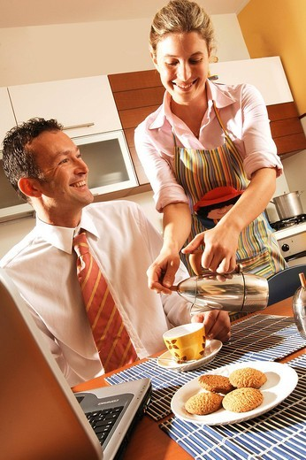 Stock Photo: 3153-648463 couple, breakfast