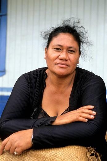 oceania, tonga, archipelago of vava´u, vava´u, a woman : Stock Photo
