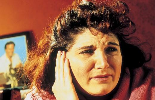 woman, earache, inside : Stock Photo