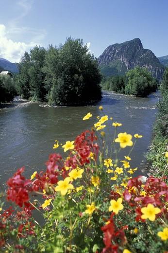 ariege river, tarascon, france : Stock Photo