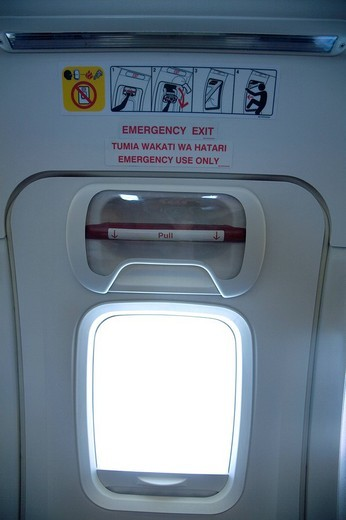 airplane, emergency exit : Stock Photo