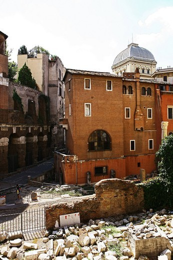 roman jewish ghetto from theatre of marcellus, rome : Stock Photo