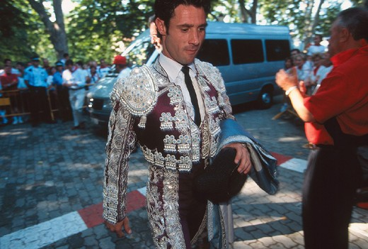 spain, navarra, pamplona, feria of san fermin, plaza de toros, bullfight, bullfighter : Stock Photo