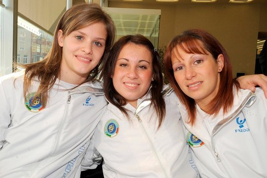 Stock Photo: 3153-658644 vanessa ferrari between lia parolari and monica bergamelli,milano 17_11_2008,gymnastic gran prix 2008 presentation