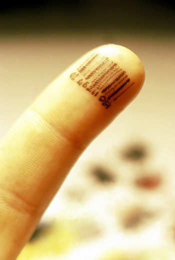 barcode, finger : Stock Photo