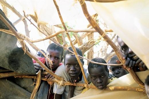 africa, kenya, kakuma refugees camp, sudanese children : Stock Photo