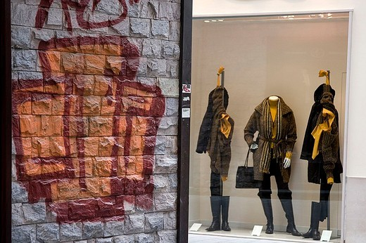 shop window and murales : Stock Photo