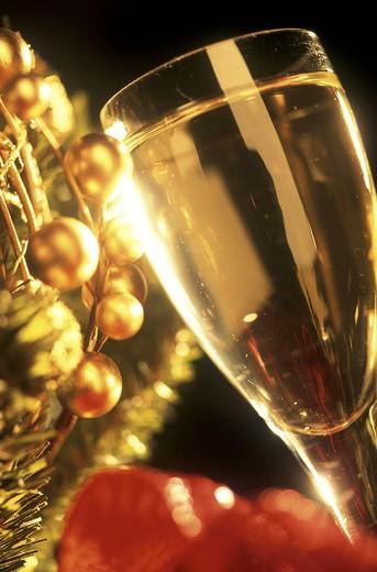christmas tree, glass of sparkling wine : Stock Photo