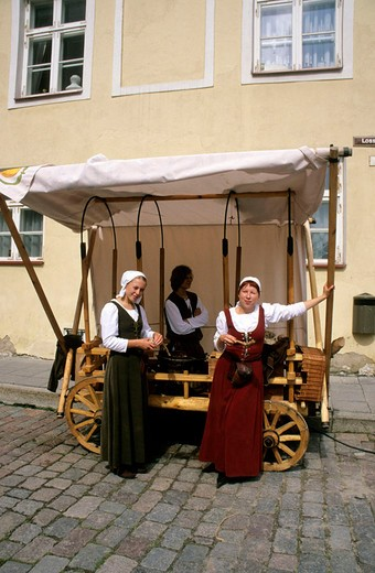 europe, estonia, tallinn, woman wearing traditional clothing : Stock Photo
