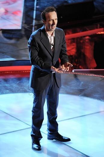 roberto benigni, sanremo 2009, 59th italian song festival : Stock Photo