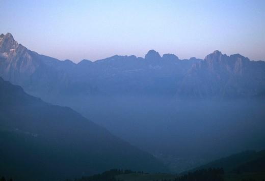 Stock Photo: 3153-669547 europe, italy, alps, dolomites, marmolada group, fassa valley