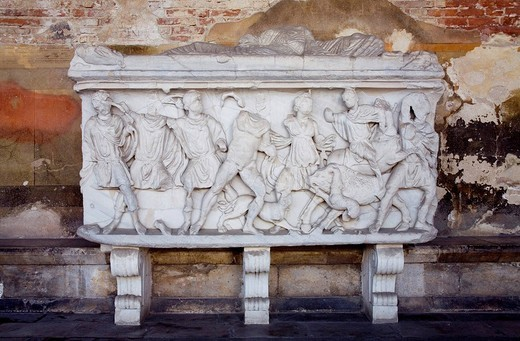 Stock Photo: 3153-670533 roman sarcophagus, camposanto monumentale, pisa, tuscany, italy