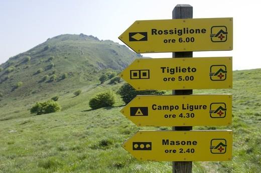 naturalistic signals, beigua regional park, italy : Stock Photo