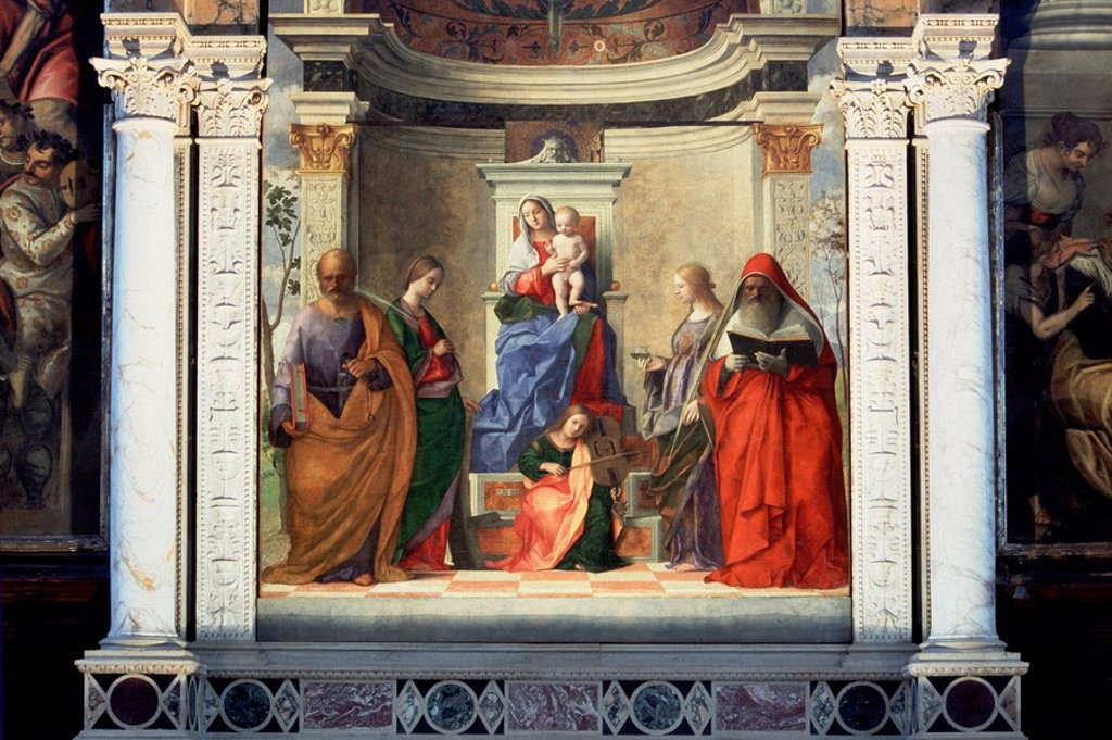 Stock Photo: 3153-672273 sacra conversazione by giovanni bellini, san zaccaria church, venice, veneto, italy