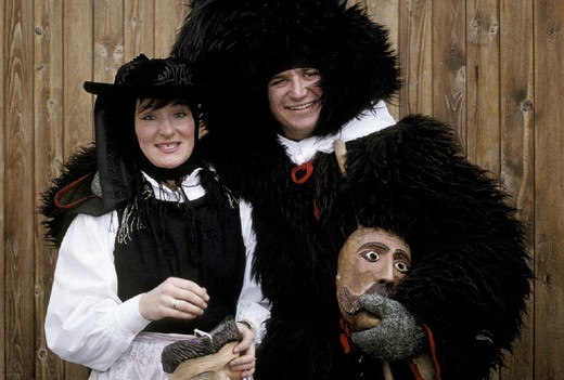 Stock Photo: 3153-674913 traditional masks, sappada, italy