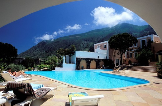 Hotel Signum in the village of Malfa, Island of Salina. Aeolian Islands, ITALY : Stock Photo