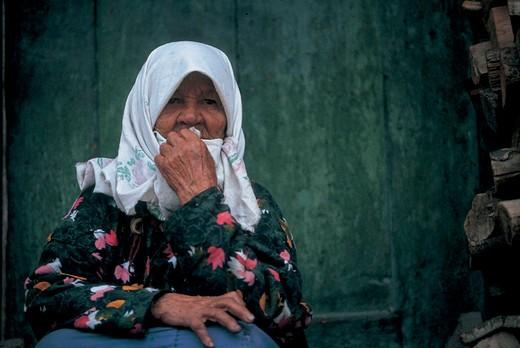 woman of the turkish minority pomak, sveta-petka, bulgaria : Stock Photo