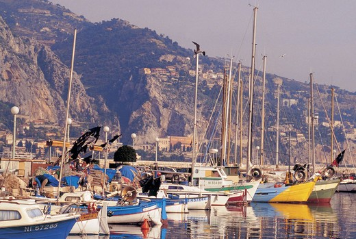 france, menton, old harbour : Stock Photo